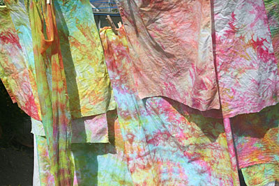 dyed fabric drying