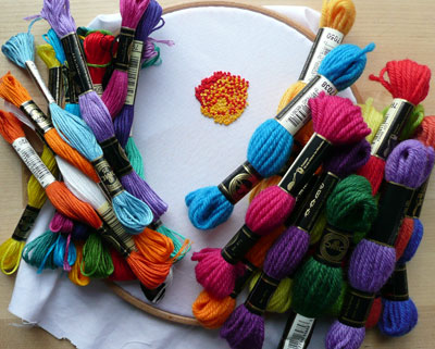 threads and French knots