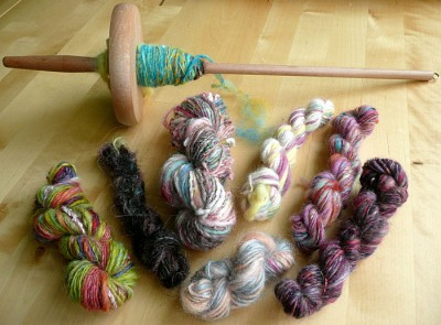 spindle and yarns