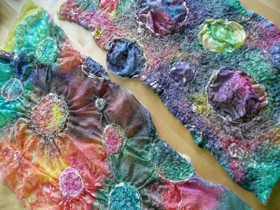 painted silk, felted to gather the fabric in different ways