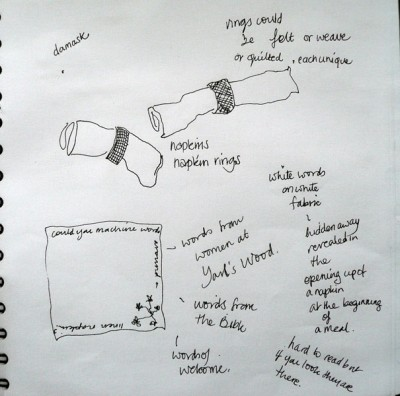 napkins in sketchbook