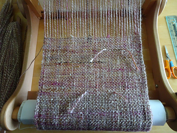 handspun scarf on the loom