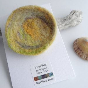 Green and yellow handmade felt brooch, made in Scotland