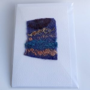 Handmade textile card, abstract landscape, greetings card, blank card