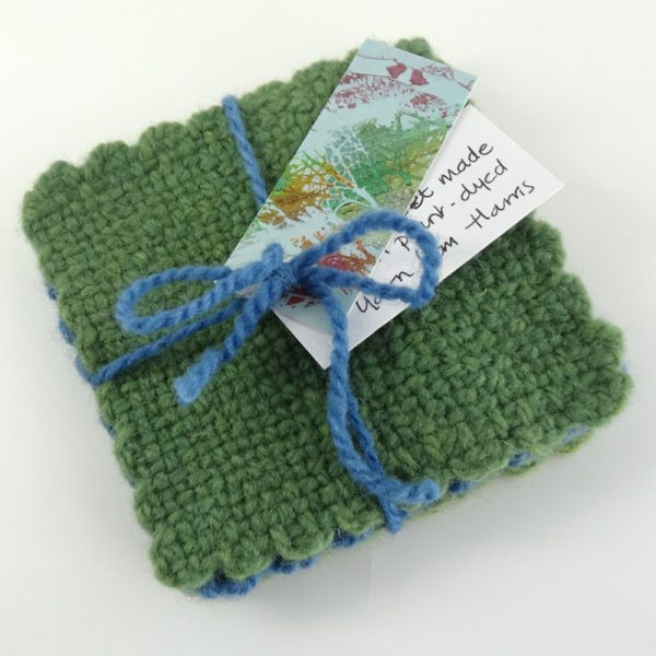 Handwoven coasters, green and blue, set of four, made in Scotland