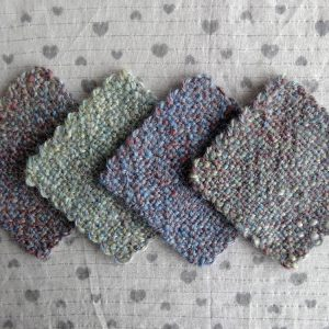 Handwoven coasters, pastel shades, blue, pink, green, set of four, handspun, made in Scotland
