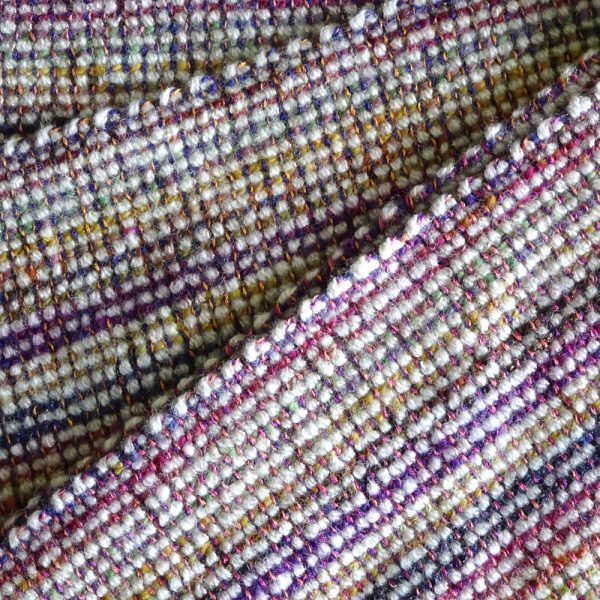 Handwoven, handspun 'Colour Play' wool scarf. Wool, cotton, made in Scotland