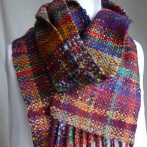 Handwoven, handspun wool scarf 'Autumn Plaid'. Wool, tweed, made in Scotland