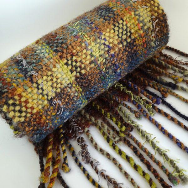 Handwoven, handspun wool scarf 'Earth Harvest'. Wool, tweed, plaid, made in Scotland