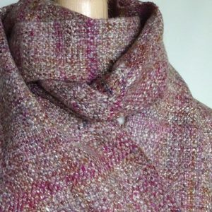 Handwoven, handspun wool scarf 'Evening Light'. Wool, silk, tweed, made in Scotland