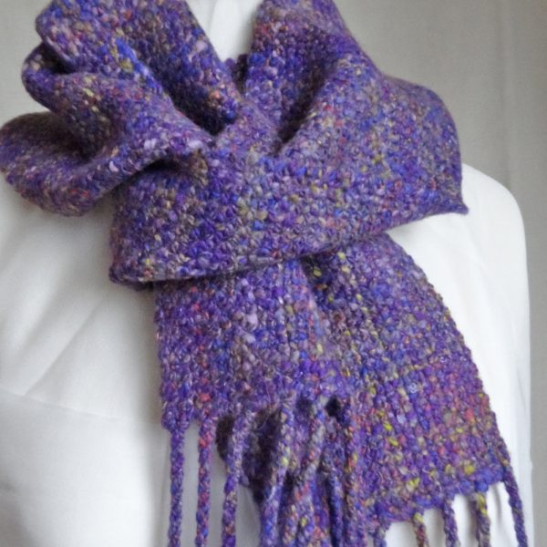 Handwoven, handspun wool scarf 'Lavender Garden'. Merino wool, silk, tweed, made in Scotland