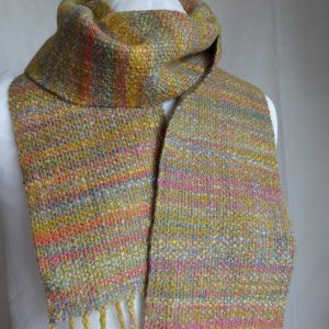 Handwoven, handspun wool scarf 'Machair'. Merino wool, silk, tweed, made in Scotland