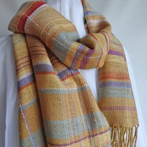 Handwoven scarf 'Colours of the Machair'. Tencel and cotton, made in Scotland