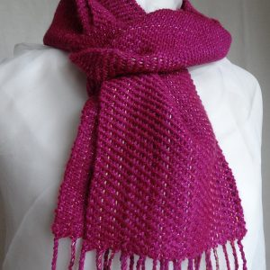 Handwoven sparkly scarf 'Pink Shimmer'. Made in Scotland