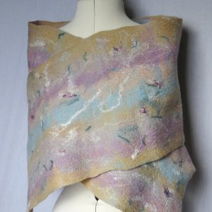 Pastel wrap, hand felted scarf in soft apricot, blue and lilac, evening stole, wedding shawl, made in Scotland