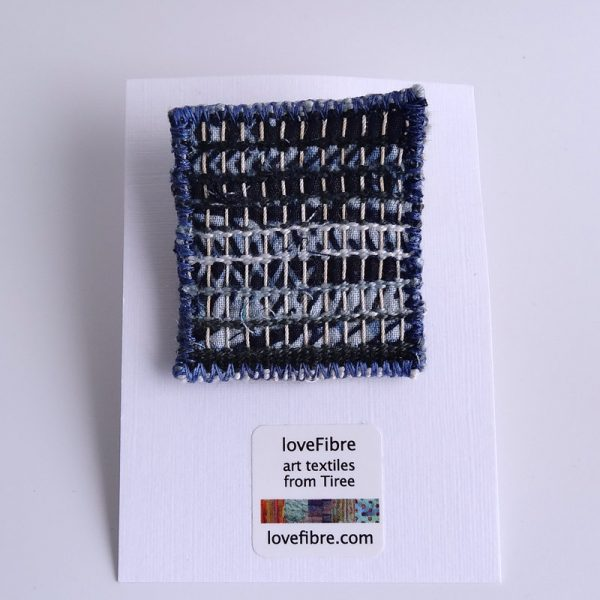 Tiny tapestry brooch, hand woven, indigo, blue, made in Scotland
