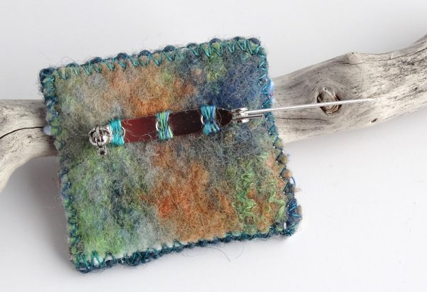 Tiny tapestry brooch, hand woven, purple, apricot, blue, made in Scotland