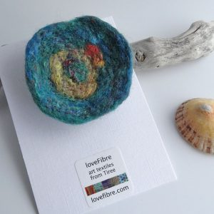 Turquoise and yellow handmade felt brooch, made in Scotland