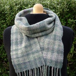 Handwoven handspun wool scarf, November Sea