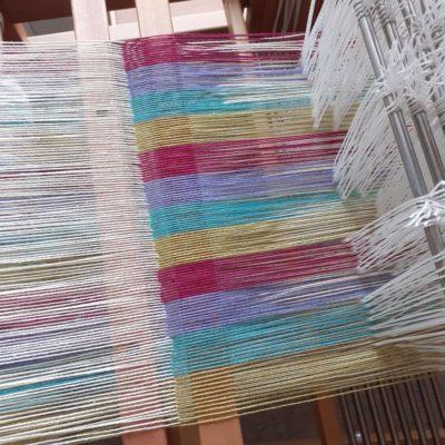 double weave warp on loom